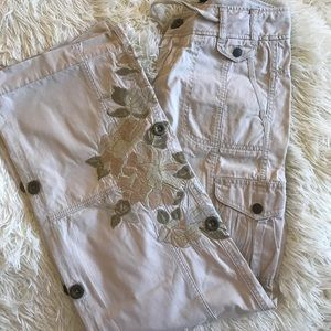 Beige Embroidered Cargo pants